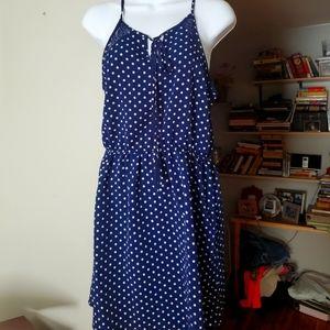 Navy polka dot strappy dress